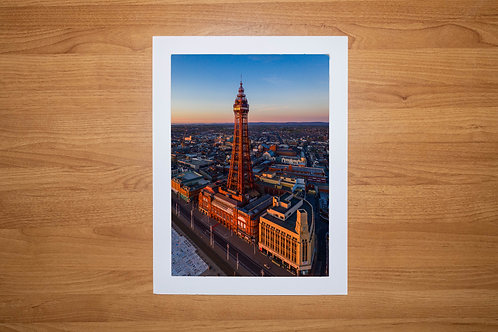 The Blackpool Tower (At Sunset) Aerial Photo Print (In Mount Or Frame)