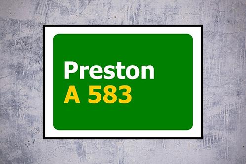 Preston A583 Wall Art | Road Sign Artwork In Frame