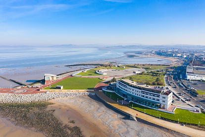 The Midland art deco hotel at Morecambe. Drone/aerial photograph by New View Lanashire