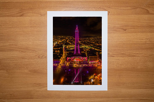 The Blackpool Tower At Night Aerial Photo Print (In Mount Or Frame)