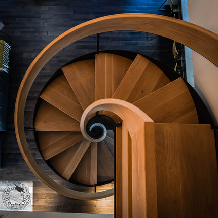 Double Helix Oak and Steel Staircase