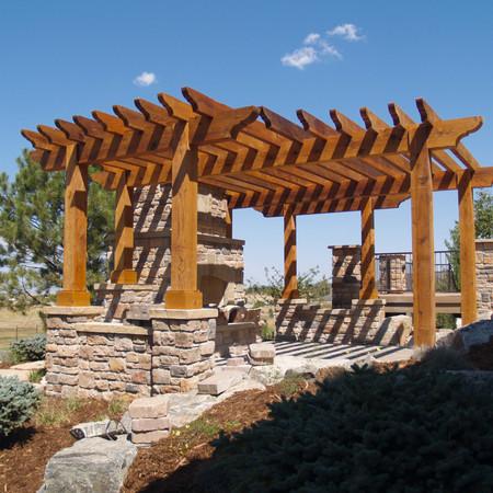 Wood Pergola with Stone Bases