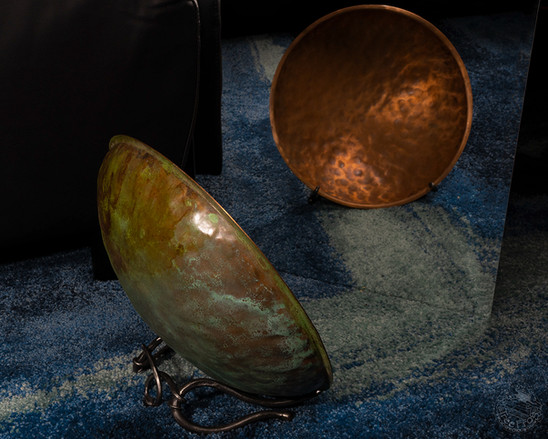Hand hammered copper bowl with patina
