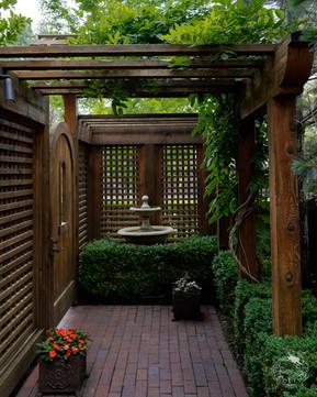 Cedar gate, entry and lattice with small pergola