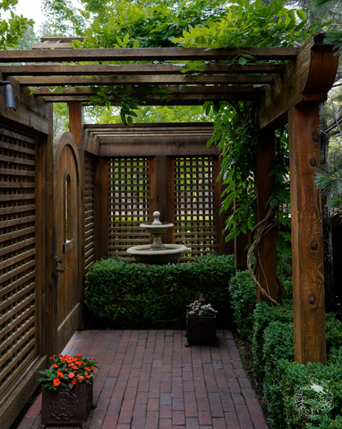 Cedar gate, entry and lattice with small pergola