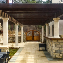 Wood Pergola with Columns and Gate