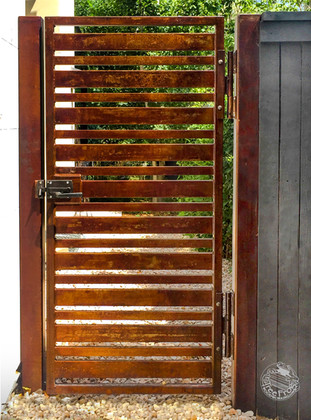 Steel patinated gate