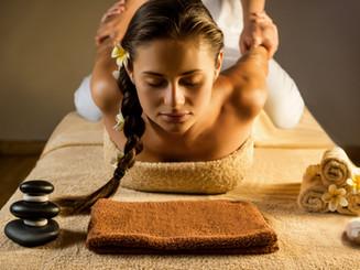The beautiful girl has massage. Stretchi