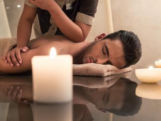 Young muscular man enjoying the healing