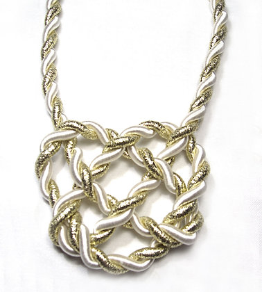 White & Gold Heart Knot