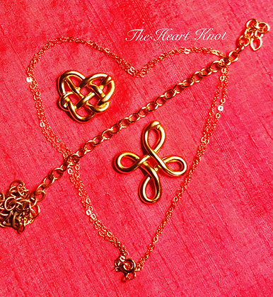 Small Heart Knot in 14K Matte Gold Plate