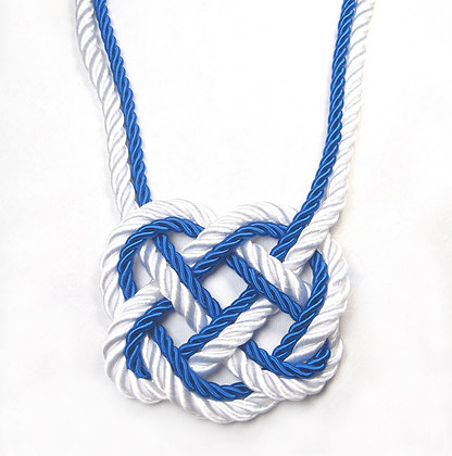 Blue & White Stripe Heart Knot