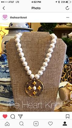 Diamond Cross on Cotton Pearls