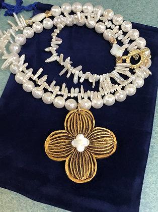 Dogwood Medallion on Pearls