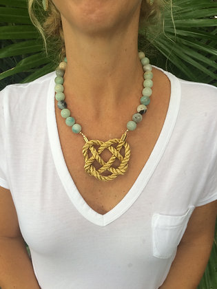 Amazonite Heart Knot