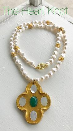 Green Jade Cross on Pearls