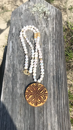 Cross Medallion on Freshwater Pearls 32 inch