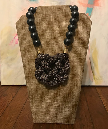 Heart of Armor on Black Cotton Pearls