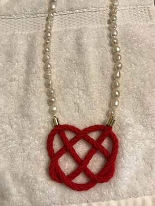 Red Heart Knot on Freshwater Pearls