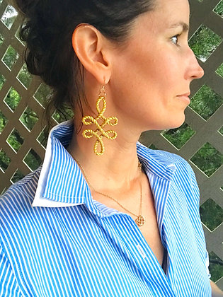 Golden Cursive Loop Earrings