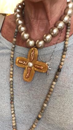 Bronze Cotton Pearl with Bronze Keishi Cross