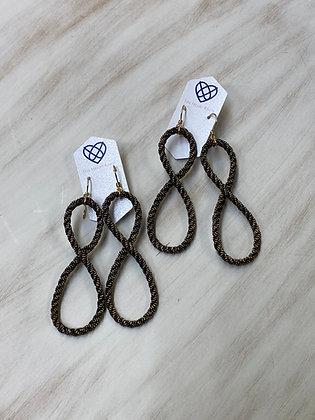 Infinity Earrings in Black & Gold