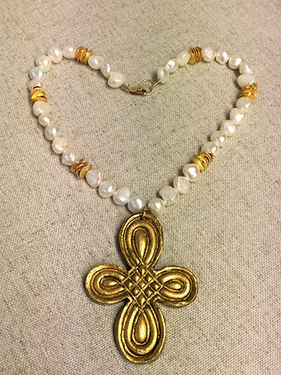 Celtic Cross on 16 or 18 inch Freshwater Pearls