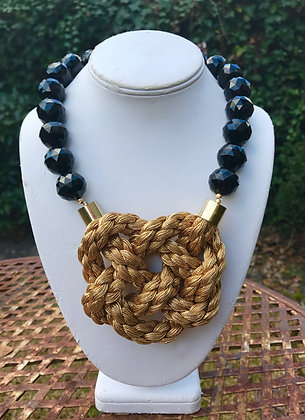 Black Agate Golden Braid
