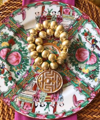 Oriental Medallion on Gold Beads