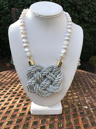 Double Silver Knot on Pearls