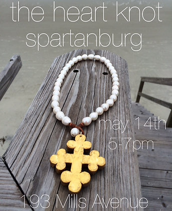 Gold Trinity Cross on leather - Freshwater pearls
