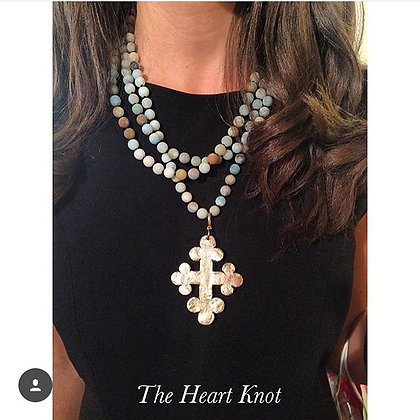 Taupe Trinity Cross on Amazonite Beads 60 inch