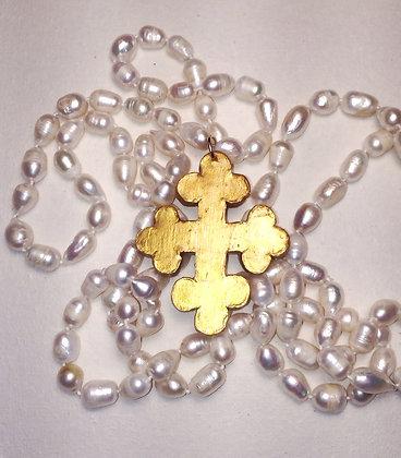Trinity Cross on 60 inch pearls