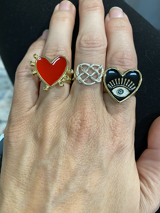 7 of Hearts Ring (Left - Red)