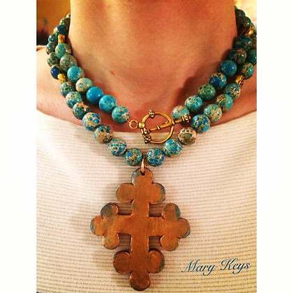 Bronze Cross on Aqua Terra Beads