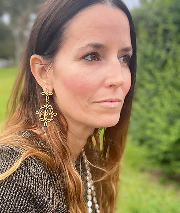 Diamond of Crosses Earrings in 14K Gold
