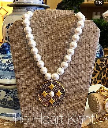 Cross Medallion on Cotton Pearls