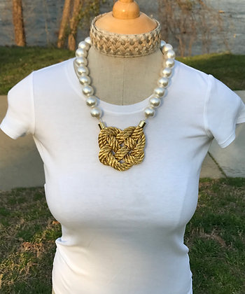 Double Gold Heart Knot on Cotton Pearls