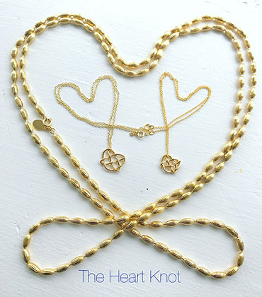 Almost Tiny 14K Gold Plate Heart Knot (Left)