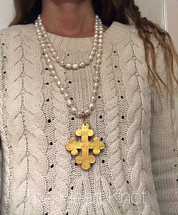Trinity Cross on 60 inch pearls