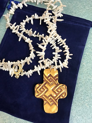 Lattice Cross on Keishi Pearl