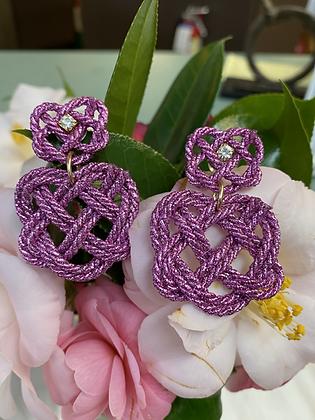 Heart Burst Earrings in Hot Pink