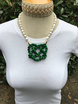 Metallic Green on Freshwater Pearls