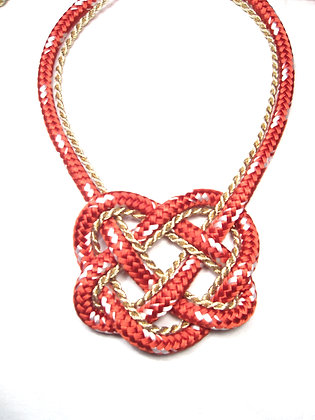 Red and Gold Twist Heart Knot