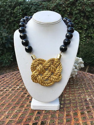 Double Gold Heart Knot on Onyx