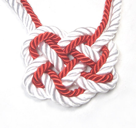 Red & White Stripe Heart Knot