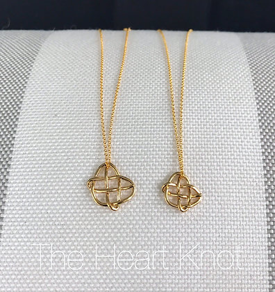 (Right) Tiny Heart Knot in 14K Gold Plate