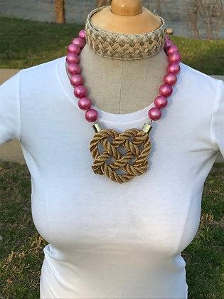 Golden Braid on Pink Cotton Pearls