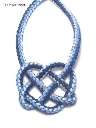 Blue & White Zigzag Heart Knot