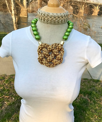Lime Green Cotton Pearl on Golden Braid